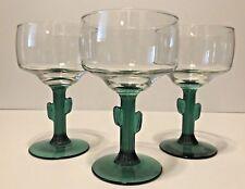 Set Of 3 Libbey Green Cactus Stem 10 Oz Cocktail/Margarita Glasses