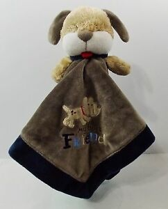 """Carters One Size Brown Puppy My Friend Rattle Lovey Security Blanket 15"""""""