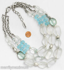Chico's Signed Necklace Long Silver Tone Triple Chains Chunky Turquoise Frosted