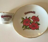 Vintage Miniature Tea Cup And Saucer Hawaii Made In Japan Hand painted Gold Trim
