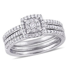 Amour 1/2 CT TW Diamond Cluster 3-Piece Bridal Set in 14k White Gold