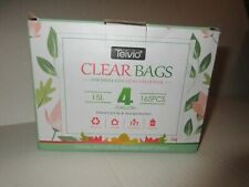Teivio Clear Bags 4 gallon 15L 165 Pcs 3 Rolls For Home Office Small Cans Strong