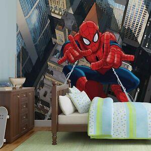 Spider-Man Papier Peint Mural Mur Enfants Chambre Marvel Premium Photo Bleu