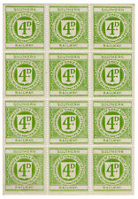 (I.B) Southern Railway : Letter Stamp 4d (complete sheet)