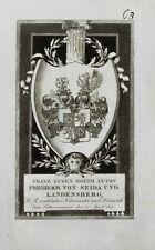 1814 Wappen Michaelsorden von Seida und Landensberg Freiherr Kupferstich