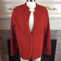 EILEEN FISHER L Burnt Orange Long Sleeve Button Down Ribbed Wool Blazer Jacket