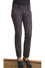 NEW NOLITA WOMEN  ITALY STRIPE WOOL SKINNY PANTS  4 8 28 $350  DARK BROWN