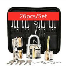 26Pcs Unlocking Lock Pick Set Key Extractor Transparent Practice Padlock Tools