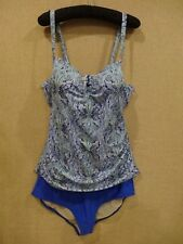 Women's Lane Bryant Tankini Swimsuit Size 40D Underwire Bra 20 Bottom Paisley