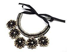 CC986CH * Collier Col Plastron Feutrine Fleurs Perles Mode - Noir/Doré