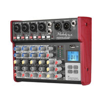 Portable 6-Channel Mixing Console Mixer 2-band EQ+48V Phantom Power Durable