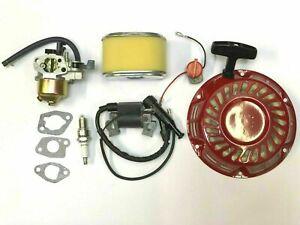 Honda GX140 GX160 Service Kit Carburetor Plug Coil Recoil WITH GX120 FILTER