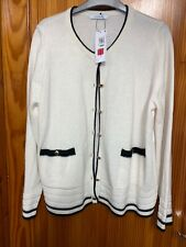 Marks & Spencer Size 18 Ivory Cardigan Brass Buttons New Tags