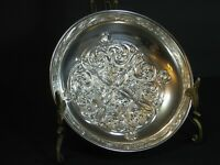 "Sterling Silver Floral Repousse Footed Bon Bon/Nut/ Dish/Bowl, 5.5"", EUC, Rare!"