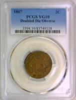 1867 Doubled Die Obverse Two Cent PCGS VG-10