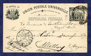 Peru- Postal Stationary, Postcard, Higgins and Gage 34, Arequipa to Germany 1908