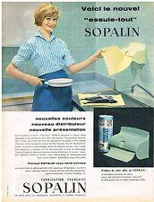 PUBLICITE ADVERTISING  1958   SOPALIN   essuie-tout