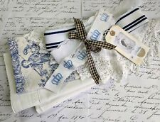 Slow Stitch Kit Antique French Linen Fabric & Lace Bundle, Blue Stitching