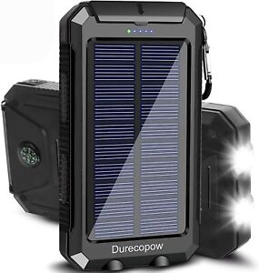 20000mAh Portable Outdoor Waterproof Solar Power Bank, Camping External Backup