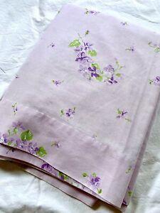 Vintage Dan River Lavender Purple Floral Full Flat Sheet Pastel Flowers