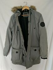 Primark Winter Jacket Coat Grey Fur Hood Size Medium #E1