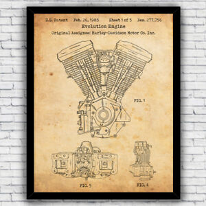 Harley Davidson Evo Motorcycle Engine Patent Art Print - Size and Frame Options