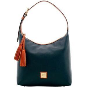 Dooney & Bourke Women's Black & Brown Paige Sac Pebble Shoulder Bag Purse 8851-7
