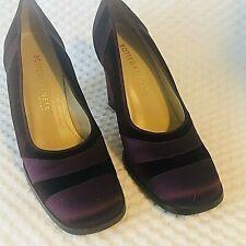 Bottega Veneta Heels Sz 7.5 Purple Satin Velvet Square Toe Block Heel Italy VTG