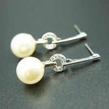 14k white Gold plated pearl dangle elegant earrings with Swarovski crystals