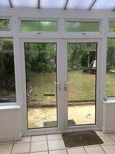 French Patio doors, double glazed.  White uvpc in frame.