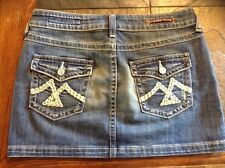Women's Vigoss Stretch Thick Stitch Distressed Back Flap Denim Mini Skirt Sz 3/4