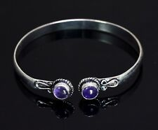 Amethyst Gemstone Turkish Victorian Style 925 Silver Plated Bracelet / Bangle
