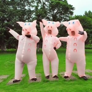 Inflatable Pink Pig Costume Suit Adult Blow Up Funny party Cosplay Fancy Dress