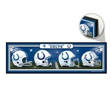 "INDIANAPOLIS COLTS HELMET DESIGN THROUGHOUT THE YEARS WOOD SIGN 9""x30"" WINCRAFT"