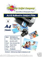 Clear A4 Self Adhesive Inkjet Sticker Label Film with Paper Backing 5 SHEETS