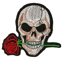 Patche biker écusson Skull and Rose Mort thermocollant patch DIY brodé