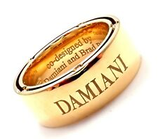 Authentic Damiani Brad Pitt 18k Yellow Gold 10 Diamond Wide Band Ring Sz 5.5