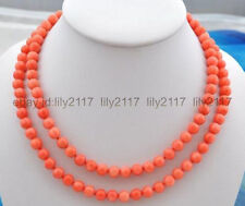 AAA Beautiful 8 mm natural pink coral bead necklace knotted 36 ""