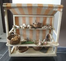 ANCIEN STAND D EPICIER EN BOIS JOUET ANCIEN POUPEE, FRUITS, LEGUMES, ANIMAUX
