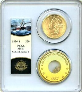 RARE ITEMS SS Central America Shipwreck Double Eagle with Pinch MS 61 S $20 1856
