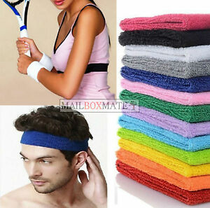 Unisex Sports Sweatbands Head band Wrist Bands Gym Cycling Badminton Sweat Bands