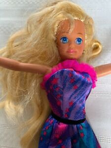 Mattel Skipper Doll Barbie Friend 1987 Blonde Hair Retro Purple Stars outfit