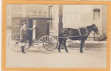 Real Photo Postcard RPPC - Milkman Horsedrawn Milk Wagon - Banner Beer Sign