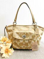 COACH Leah Signature Khaki/Beige/Tan Tote Shoulder Bag - Style 13139 - EUC