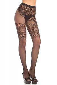 sexy BE WICKED open net FISHNET lace FAUX panty GARTER tights PANTYHOSE nylons