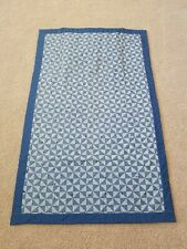 """Homemade - Quilted Patchwork Blanket w/Pillow Pocket - 48"""" X 72"""" - Blue & White"""