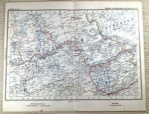 1905 Antique Railway Map of Russia Trans Siberian Russian Rail Railroad Routes