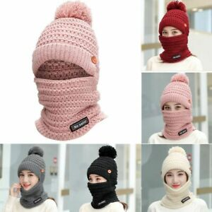 Women Bib Beanie Hat Pom Bobble Scarf Set Knitted Winter Warm Snow Ski Cap NEW