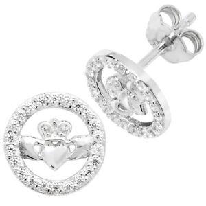 New Celtic Claddagh Diamanté Stud Earrings Celtic Jewellery