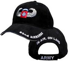82nd Airborne Hat With Jump Wings & Insignia - U.S. Army Black Baseball Cap Hat